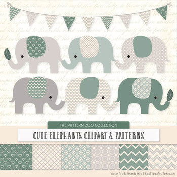 Pattern Zoo Vector Elephants Clipart & Digital Papers in Hemlock