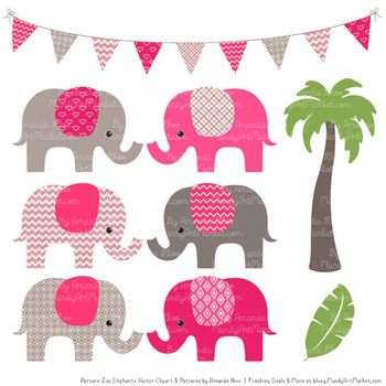 Pattern Zoo Vector Elephants Clipart & Digital Papers in Hot Pink