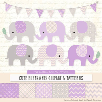 Pattern Zoo Vector Elephants Clipart & Digital Papers in Lavender