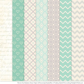 Pattern Zoo Vector Elephants Clipart & Digital Papers in Mint