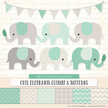 Pattern Zoo Vector Elephants Clipart & Digital Papers in Mint