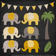 Pattern Zoo Vector Elephants Clipart & Digital Papers in Mustard
