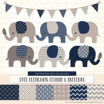 Pattern Zoo Vector Elephants Clipart & Digital Papers in Navy