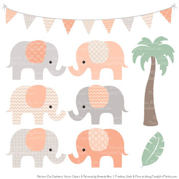 Pattern Zoo Vector Elephants Clipart & Digital Papers in Peach