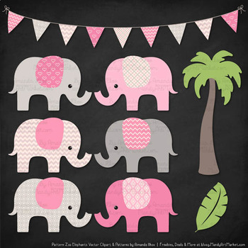 Pattern Zoo Vector Elephants Clipart & Digital Papers in Pink