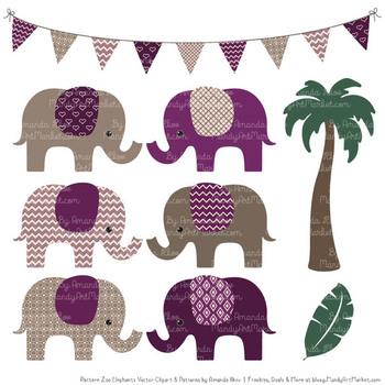 Pattern Zoo Vector Elephants Clipart & Digital Papers in Plum
