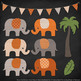 Pattern Zoo Vector Elephants Clipart & Digital Papers in Pumpkin