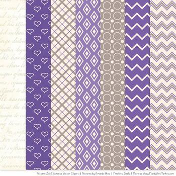 Pattern Zoo Vector Elephants Clipart & Digital Papers in Purple