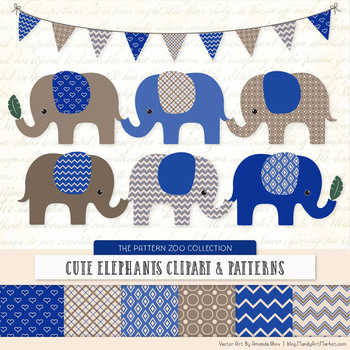 Pattern Zoo Vector Elephants Clipart & Digital Papers in Royal Blue