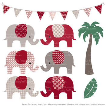 Pattern Zoo Vector Elephants Clipart & Digital Papers in Ruby