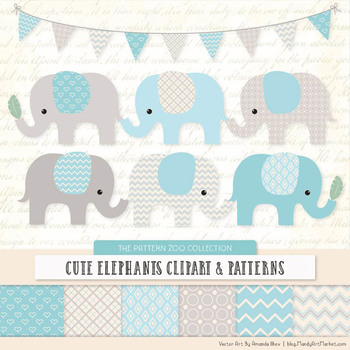 Pattern Zoo Vector Elephants Clipart & Digital Papers in Soft Blue