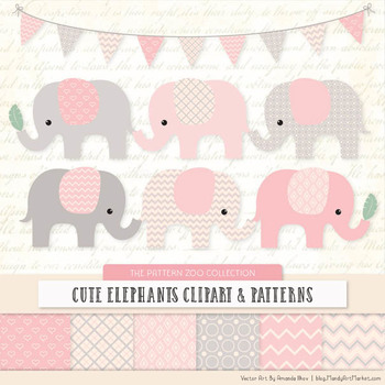 Pattern Zoo Vector Elephants Clipart & Digital Papers in Soft Pink