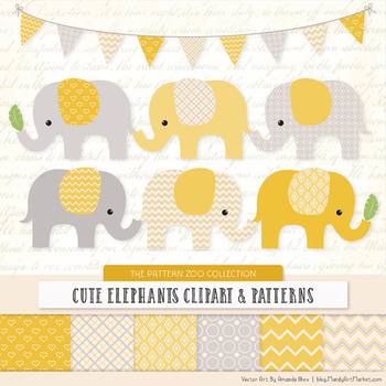 Pattern Zoo Vector Elephants Clipart & Digital Papers in Sunshine