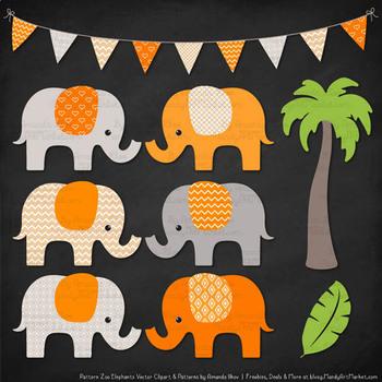 Pattern Zoo Vector Elephants Clipart & Digital Papers in Tangerine
