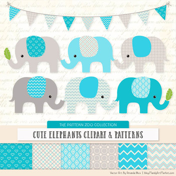 Pattern Zoo Vector Elephants Clipart & Digital Papers in Tropical Blue
