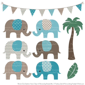Pattern Zoo Vector Elephants Clipart & Digital Papers in Vintage Blue