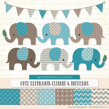 Pattern Zoo Vector Elephants Clipart & Digital Papers in V