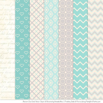 Pattern Zoo Vector Owls Clipart & Digital Papers in Aqua
