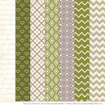 Pattern Zoo Vector Owls Clipart & Digital Papers in Avocado