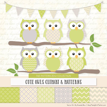 Pattern Zoo Vector Owls Clipart & Digital Papers in Bamboo