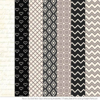 Pattern Zoo Vector Owls Clipart & Digital Papers in Black
