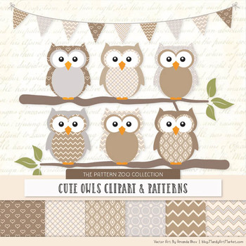 Pattern Zoo Vector Owls Clipart & Digital Papers in Champagne