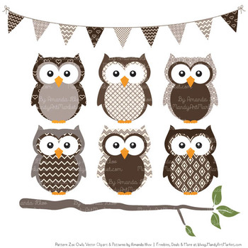 Pattern Zoo Vector Owls Clipart & Digital Papers in Chocolate