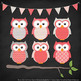 Pattern Zoo Vector Owls Clipart & Digital Papers in Coral