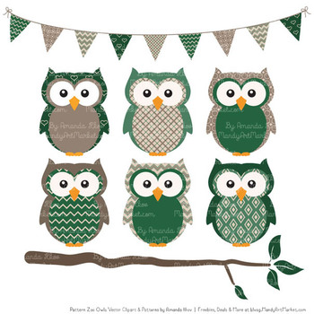 Pattern Zoo Vector Owls Clipart & Digital Papers in Emerald