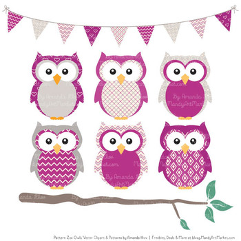 Pattern Zoo Vector Owls Clipart & Digital Papers in Fuchsia