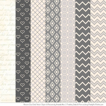 Pattern Zoo Vector Owls Clipart & Digital Papers in Grey