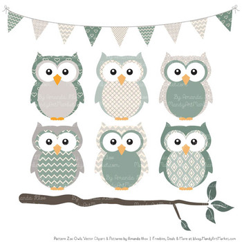Pattern Zoo Vector Owls Clipart & Digital Papers in Hemlock