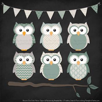 Pattern Zoo Vector Owls Clipart & Digital Papers in Hemlock