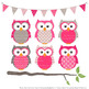 Pattern Zoo Vector Owls Clipart & Digital Papers in Hot Pink