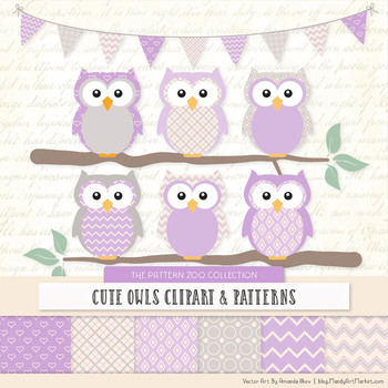 Pattern Zoo Vector Owls Clipart & Digital Papers in Lavender
