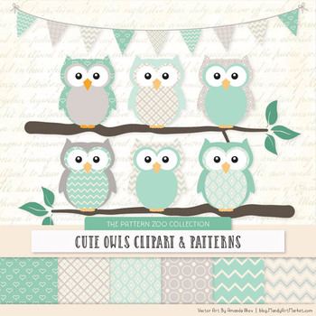 Pattern Zoo Vector Owls Clipart & Digital Papers in Mint