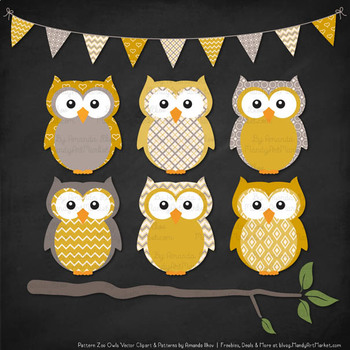 Pattern Zoo Vector Owls Clipart & Digital Papers in Mustard