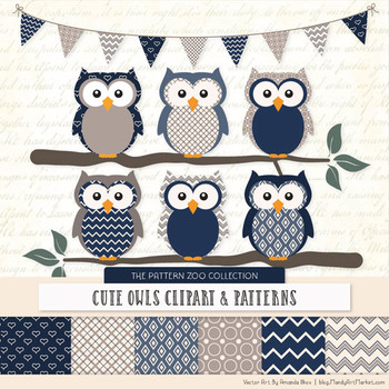 Pattern Zoo Vector Owls Clipart & Digital Papers in Navy