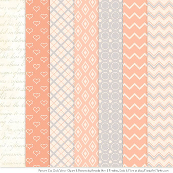 Pattern Zoo Vector Owls Clipart & Digital Papers in Peach