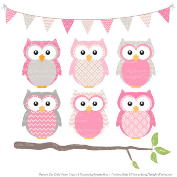 Pattern Zoo Vector Owls Clipart & Digital Papers in Pink