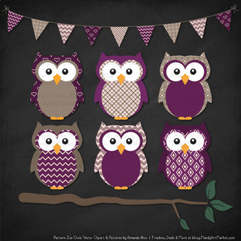 Pattern Zoo Vector Owls Clipart & Digital Papers in Plum