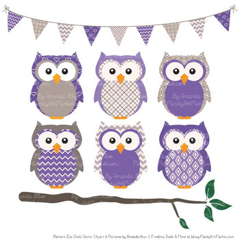 Pattern Zoo Vector Owls Clipart & Digital Papers in Purple