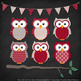 Pattern Zoo Vector Owls Clipart & Digital Papers in Ruby