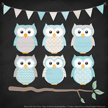Pattern Zoo Vector Owls Clipart & Digital Papers in Soft Blue