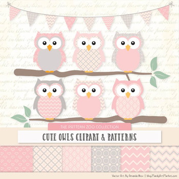 Pattern Zoo Vector Owls Clipart & Digital Papers in Soft Pink