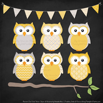 Pattern Zoo Vector Owls Clipart & Digital Papers in Sunshine