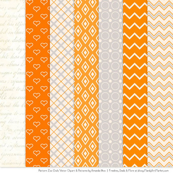 Pattern Zoo Vector Owls Clipart & Digital Papers in Tangerine