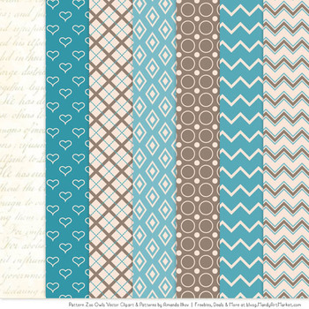 Pattern Zoo Vector Owls Clipart & Digital Papers in Vintage Blue