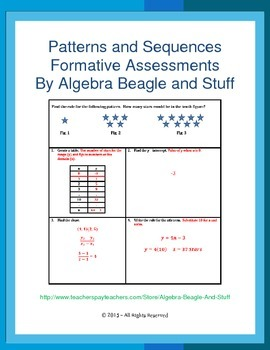 Pattern and Sequences Formative Assessments
