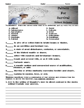 Pattern for Survival by Richard Matheson Assessment